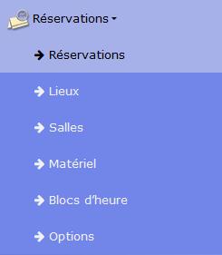 Menu du module « réservation »